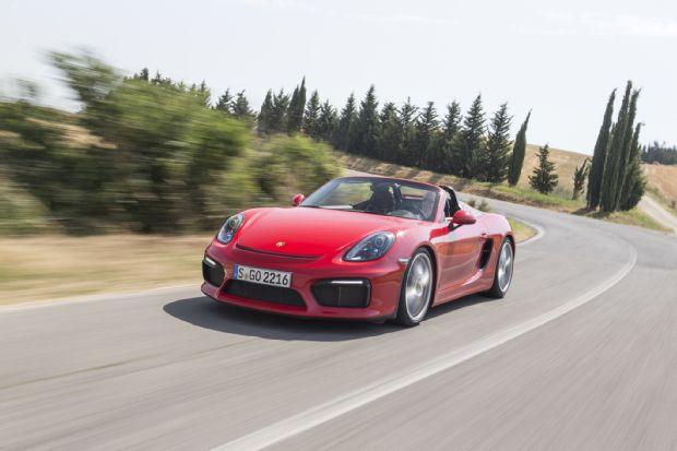 2016 Porsche Boxster Spyder Front Three Quarter In Motion 05