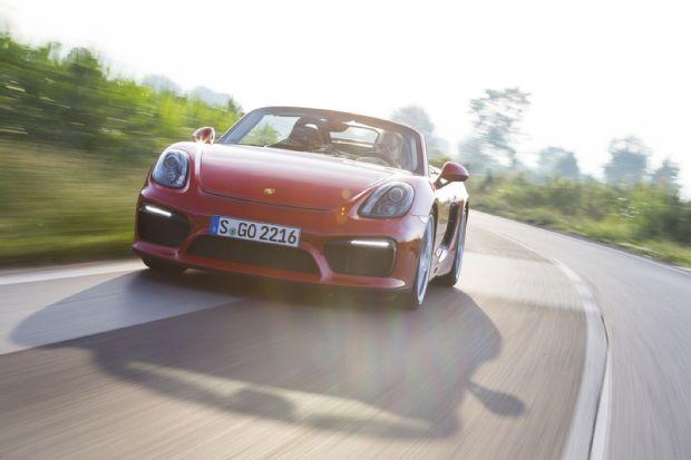 2016 Porsche Boxster Spyder Front Three Quarters In Motion 03