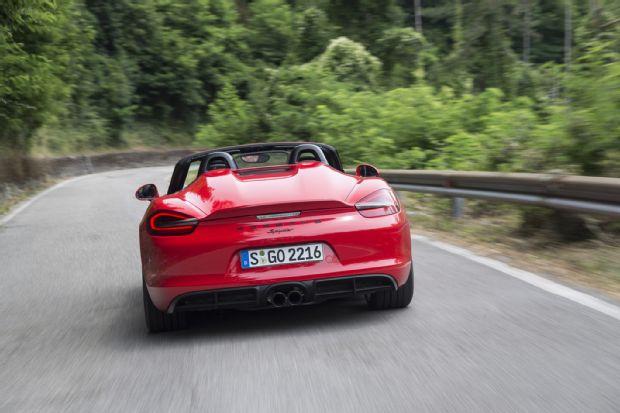 2016 Porsche Boxster Spyder Rear End In Motion