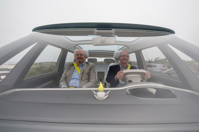 Kirk Bell and John Voelcker in Volkswagen ID Buzz electric Microbus concept vehicle